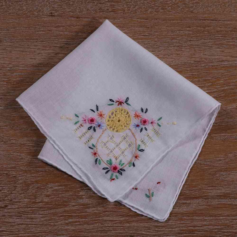 Hand Crochet Hand Embroider Hand Drawnwork Cotton Handkerchief