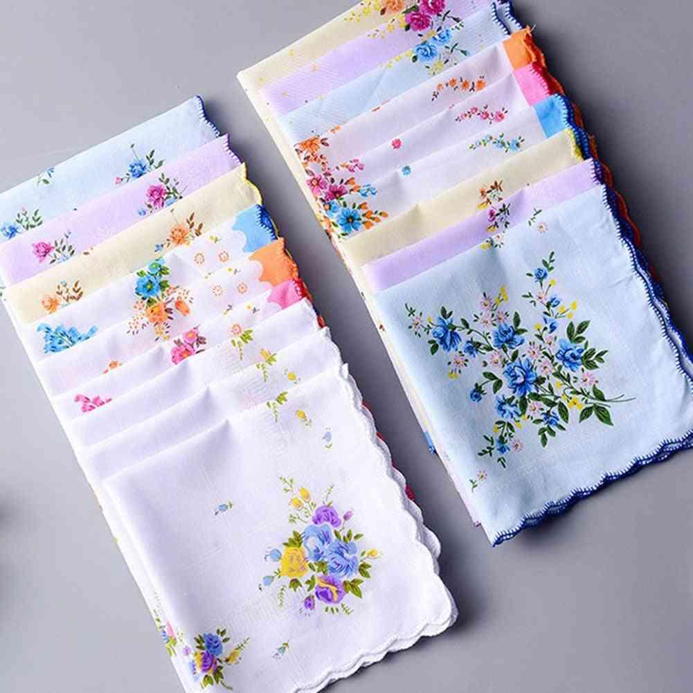 100% Cotton Handkerchief Lace Flower Print Vintage Women Handkerchiefs