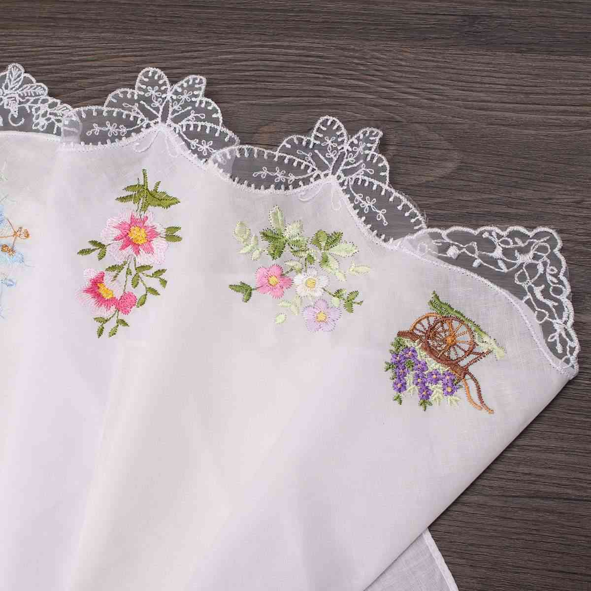 Vintage Cotton Women Hankies Embroidered Butterfly Lace Flower Hanky