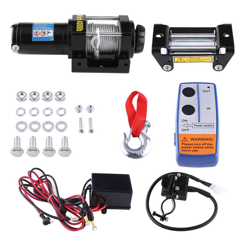 Dc 12v Steel Cable Powerful Winch Quad Bike Atv Boat Wincher Tool