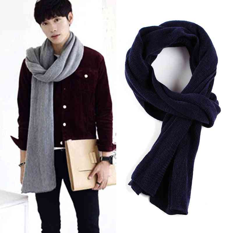 Solid Knitted Men Long Wool Boy Neck Scarves