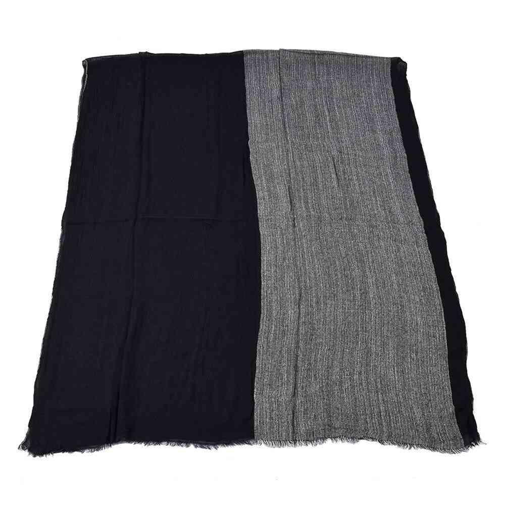 Black Cotton Linen Men Long Patchwork Scarf