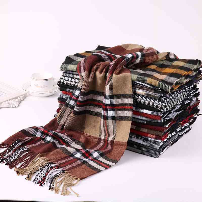 Fashion Winter Warm Plaid Scarf, Cashmere Pashmina Tippet Long Shawl