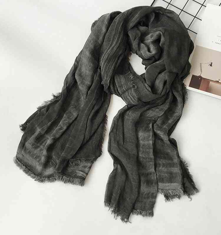 Japanese Unisex Style Winter Cotton And Linen Solider Long Scarves
