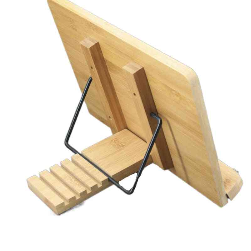 Bookshelf Learning Shelf Adjustable Book Holder Bamboo Cookbook Reading Desk