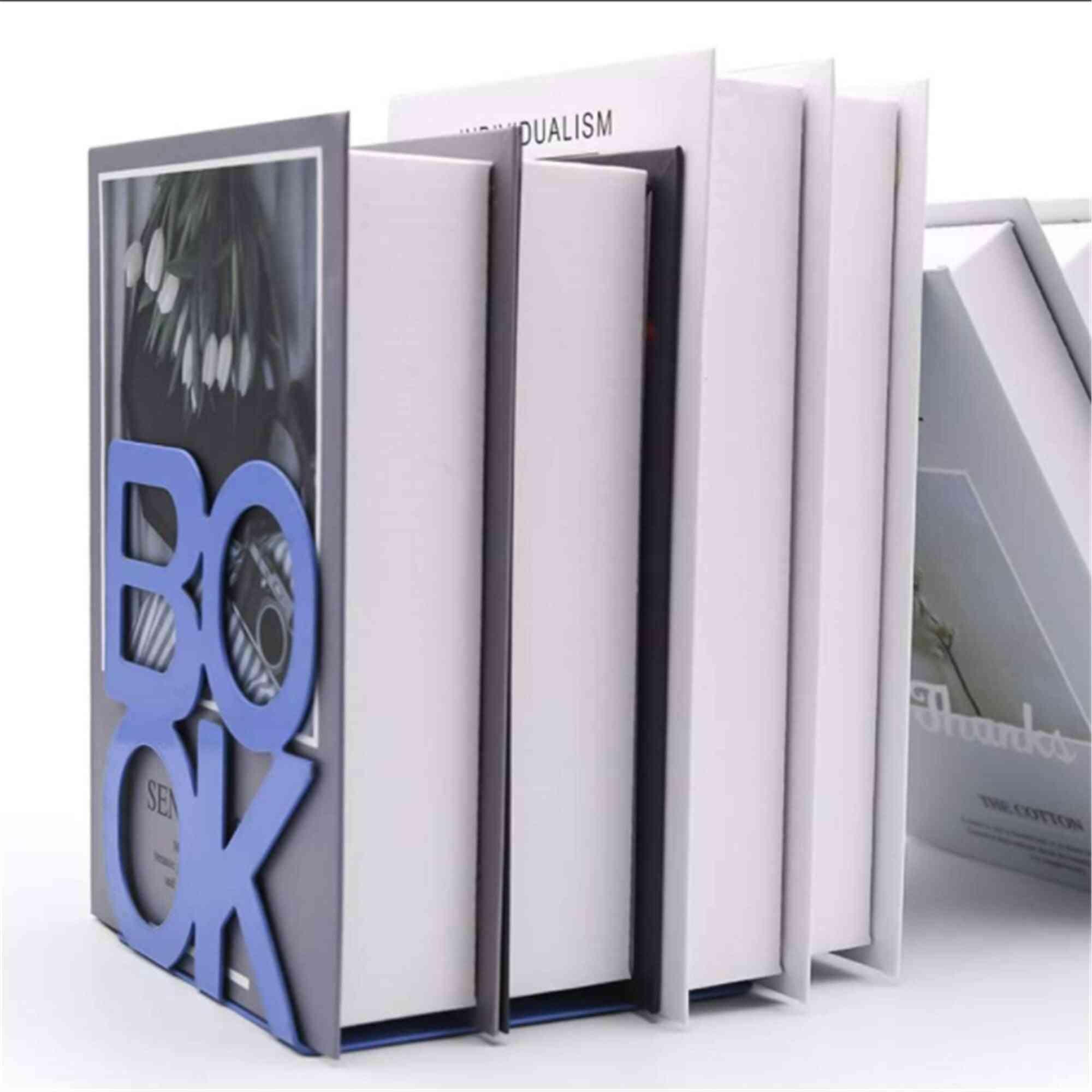 Book Stand Support Sample Bookend Iron Desktop Art Non Slip Rack Shelf Holder