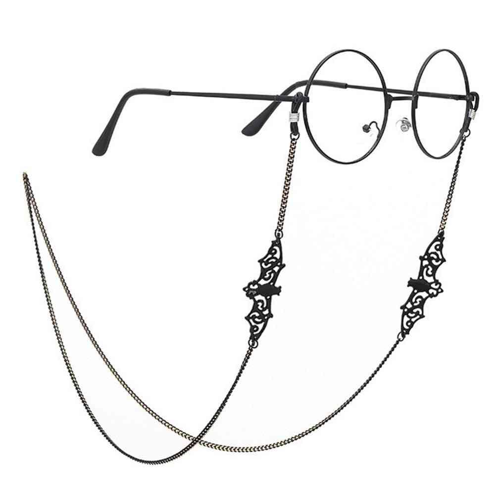Women Retro Black Bat Sunglasses Chain