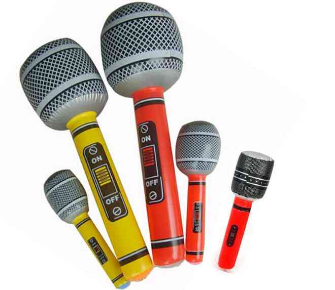 Funny Inflatable Microphone Toy Blow Up Singing Birthday Disco Party Balloon Kids Party Supplies Random Color