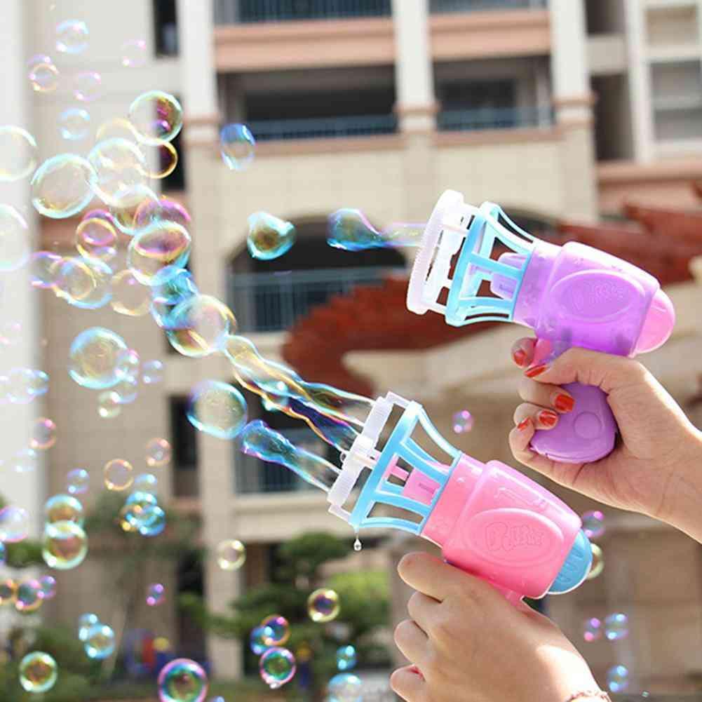 Funny Magic Bubble Blower Machine Electric Automatic Bubble Maker Gun With Mini Fan Kids Outdoor Wedding Supplies