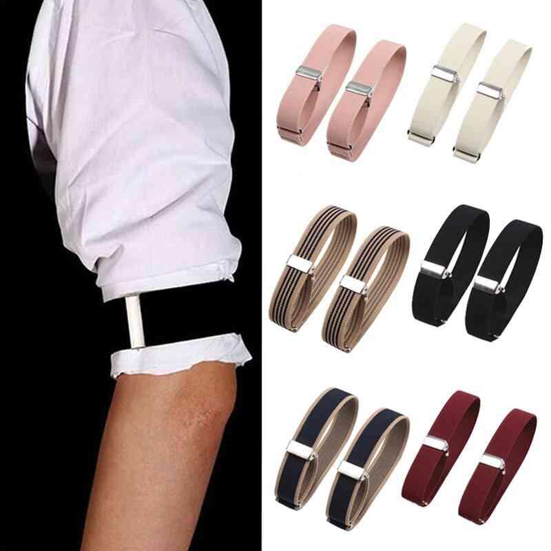 Unisex Elastic Shirt Sleeve Holder Adjustable Arm Cuffs Bands