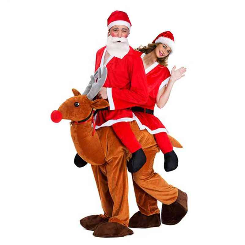 Christmas Santa Claus Ride On Reindeer Mascot Costume Couple Christmas Cosplay Double Person Elk Animal Dress Novelty