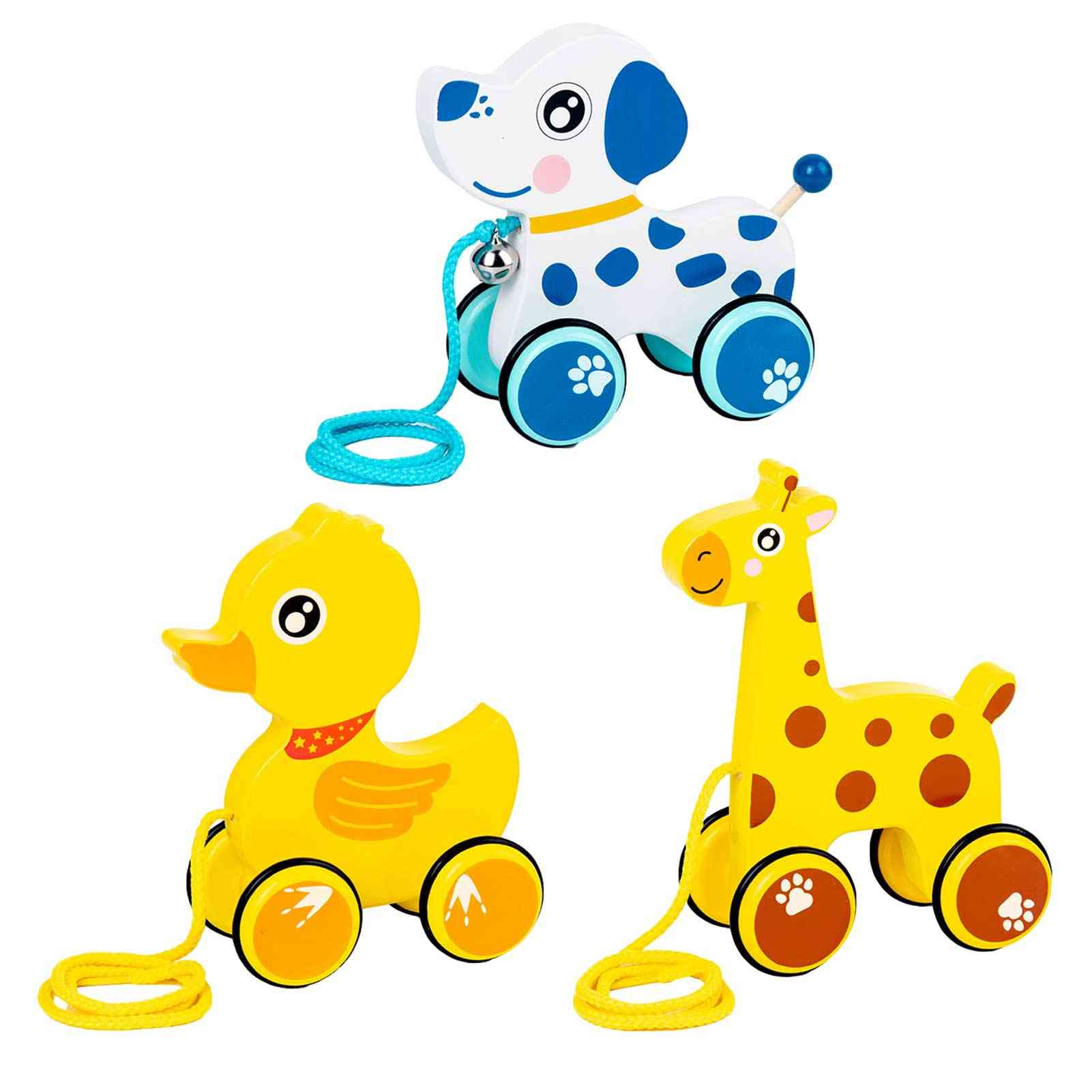 Baby Pull Walking Toy Creative Cute Cartoon Duck Dog Giraffe Drag Car Wooden Animal Rope Car For Infant