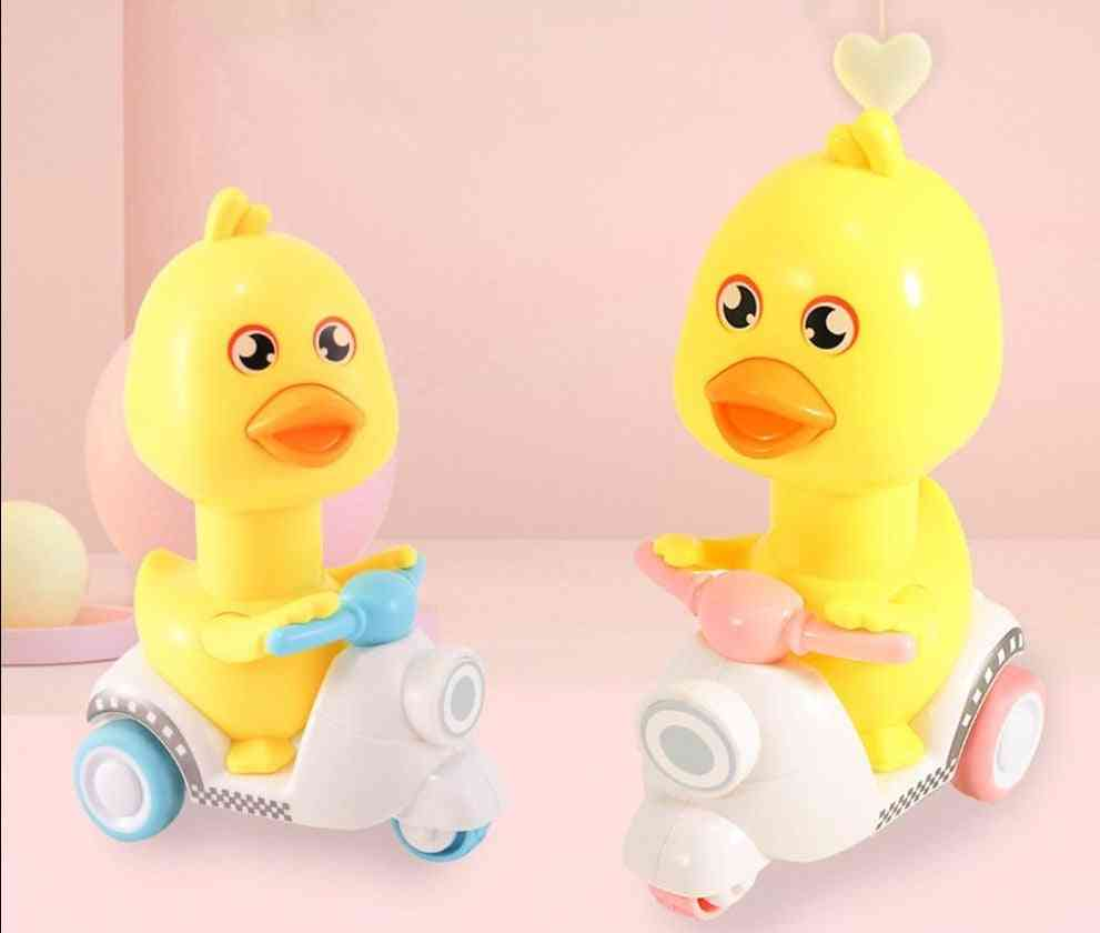 Bicycle Duck Clockwork Toy Cartoon Inertia Friction Press Pull Back Car Back Baby Toy Car Moveable Wind Up