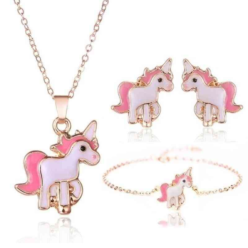 Cartoon Unicorn Earring And Necklace Set