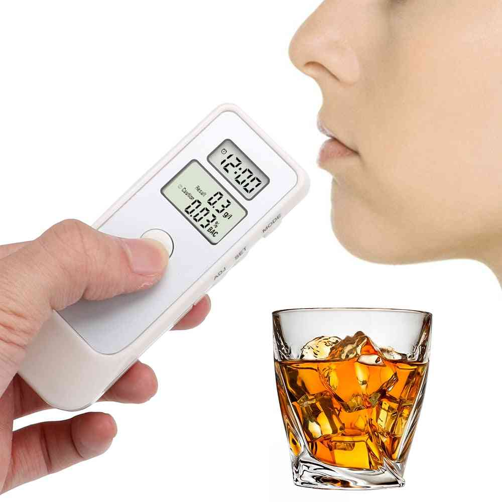 Breathalyzer Portable Alcohol Detector With Lcd Clock