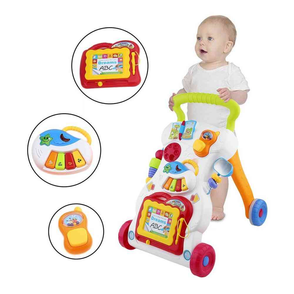 Upgrade Baby Walker Multifunctional Toddler Trolley Sit-to-stand Walker For Kid's Early Learning With Adjustable Screw