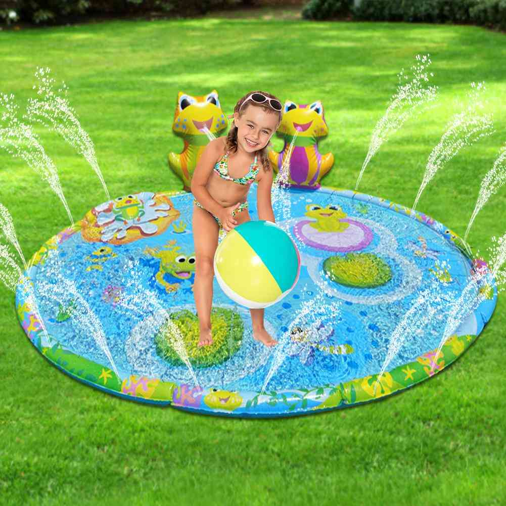 3d Frog Watering Mat Large Outdoor Lawn Playing Toy Water Spray Mat Water Games Sports Leisure Toy Mat