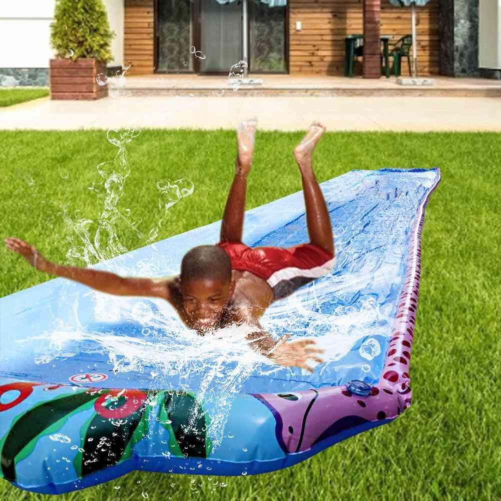 Children Double Surf Water Slide Outdoor Garden Racing Lawn Water Slide Spray Summer Water Games Toy Toboggan Aquatiqu