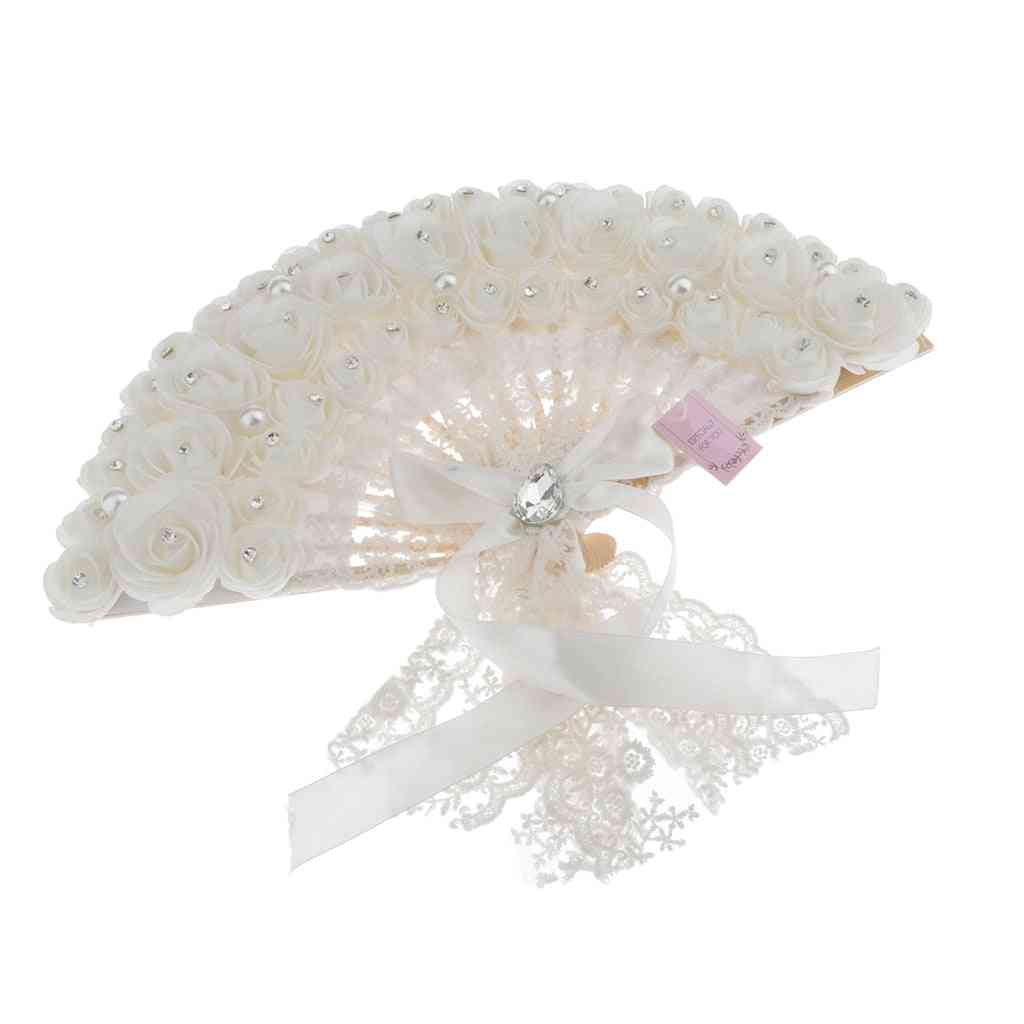White Wedding Folding Fan For Out Door Event, Wedding Parties Decoration