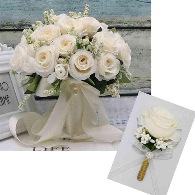 Artificial Natural Rose Wedding Bouquet