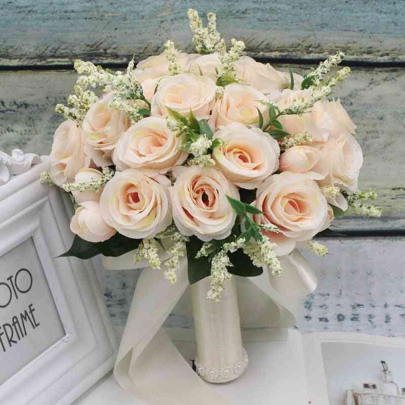 Artificial Natural Rose Wedding Bridal Bouquet With Silk Satin Ribbon