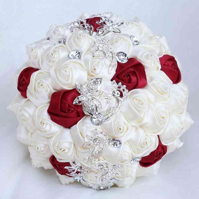 Rose Wedding Butterfly Crystal Brooch Bride Bouquet