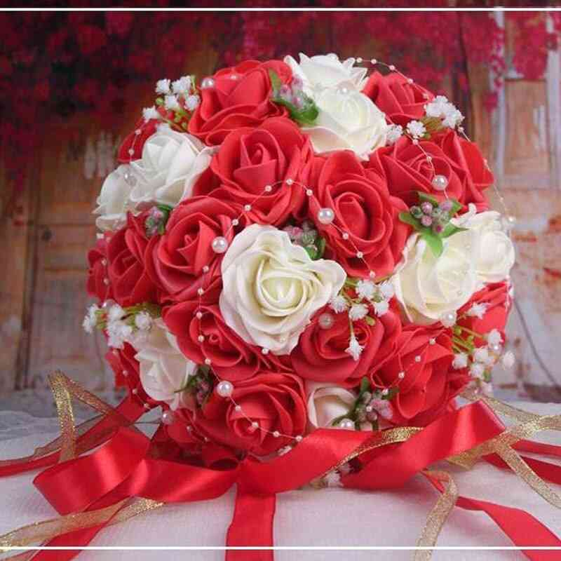 Artificial Flowers Pearls Lace Accents Wedding Bouquets With Ribbon