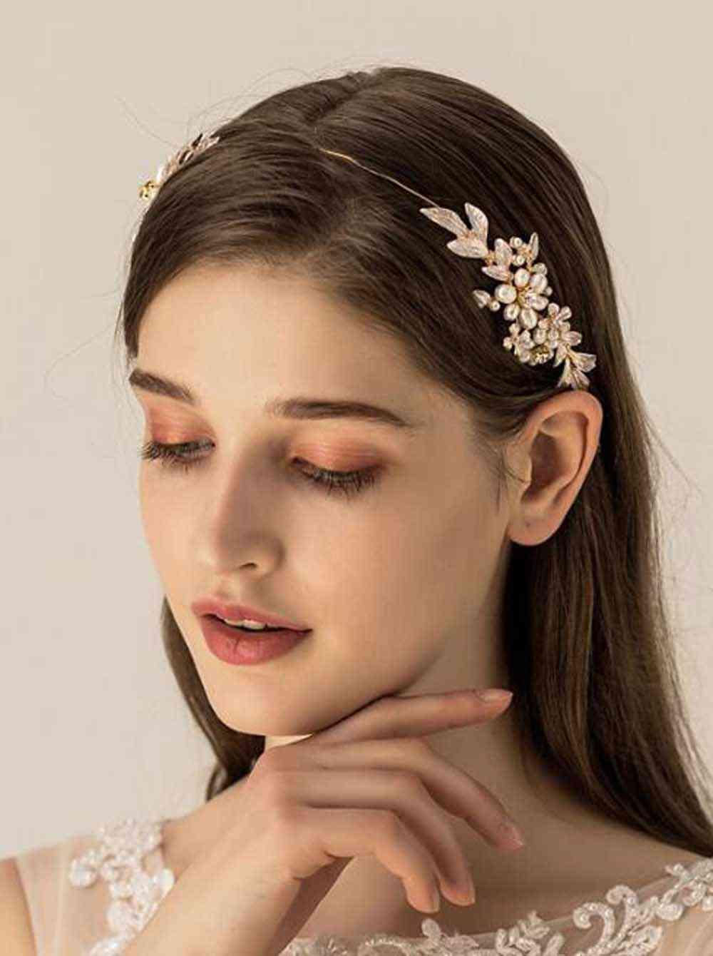 Bridal Gold Leaves Flower Headband