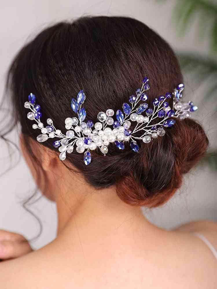 Fashion Blue Wedding Rhinestones Hair Comb Crystal Headwear