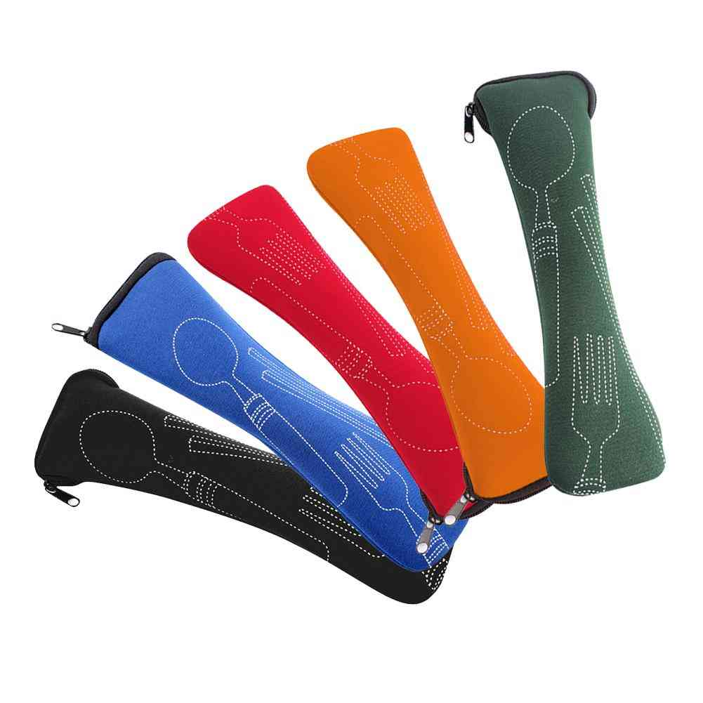Travel Cutlery Tableware Zipper Bag, Outdoor Camping Recyclable Cutlery Pouch