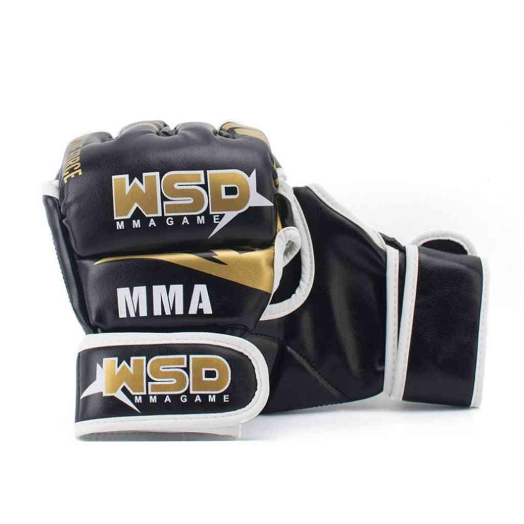 Half Finger Mma Gloves For Men, Pu Boxing, Karate, Muay Thai, Fight Training Equipment