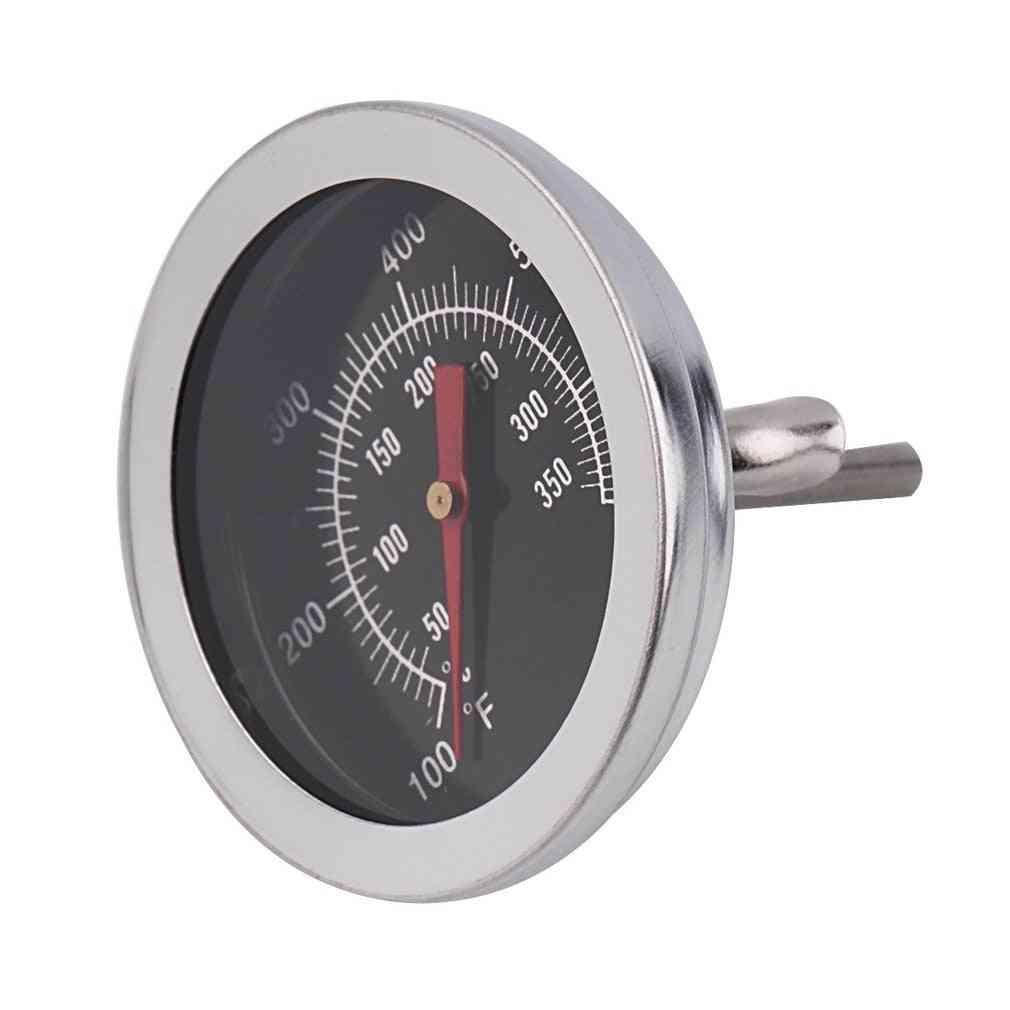 Stainless Steel Bbq Smoker Pit Grill Bimetallic Thermometer Temp Gauge