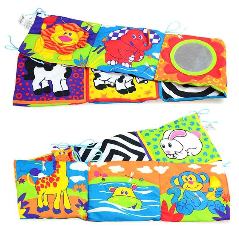 Infant Multi-touch Fun 3d Bed Surrounding Cloth Book Animal World Cloth Book With Ring Paper Safety Mirror Educational
