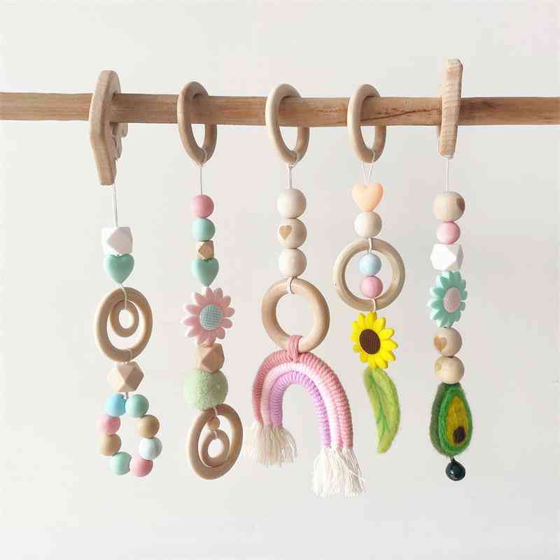 Crib Mobile Baby Play Gym Wooden Beads Bed Hanging Pendant Teething Nursing Stroller 0-12 Months Rattle