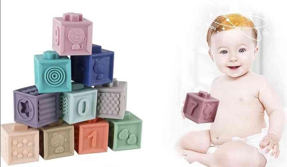 Baby Soft Building Blocks Set Bathing Senses Toy Touch Hand Ball Baby Training Ball Massage Soft Block