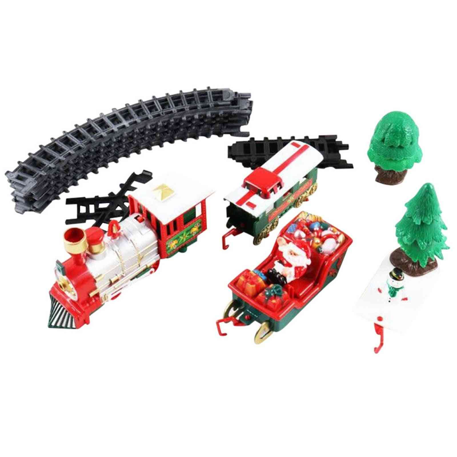 Train Set With Lights And Sounds, Christmas Railway Tracks, Battery Operated, Xmas
