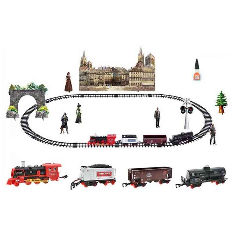 Children Electric Remote Control Rail Train Set, Simulation Diy Assembly Model Toy, Rechargeable Classic Steam