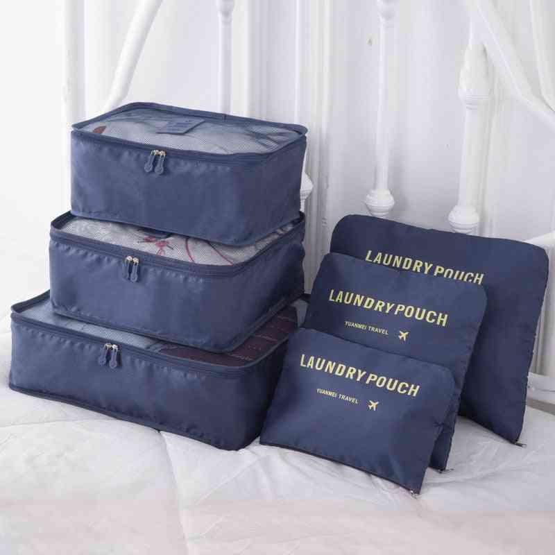 6pcs/set Luggage Packing Organizer Set Travel Mesh Bag