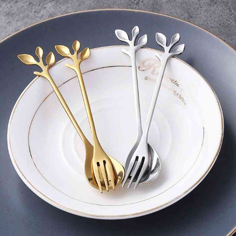 Creative Stainless Steel Branch Leaves Spoon, Fork