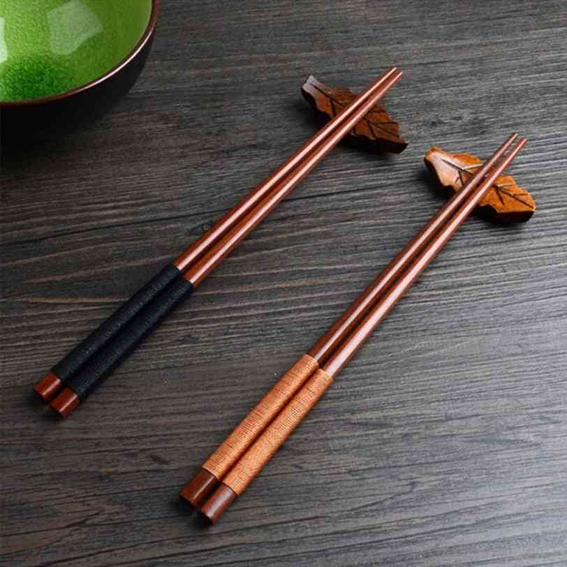 Handmade Japanese Natural Chestnut Wood Sushi Chopsticks Set