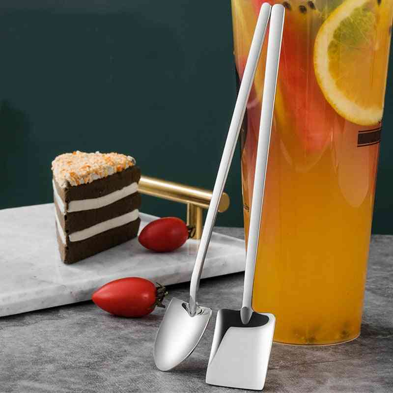 Creative Stainless Steel Spade Shovel Teaspoons With Long Handle