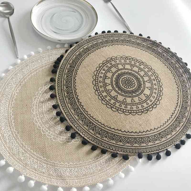Round Delicate Embroidery Dessert Pan Table Placemat