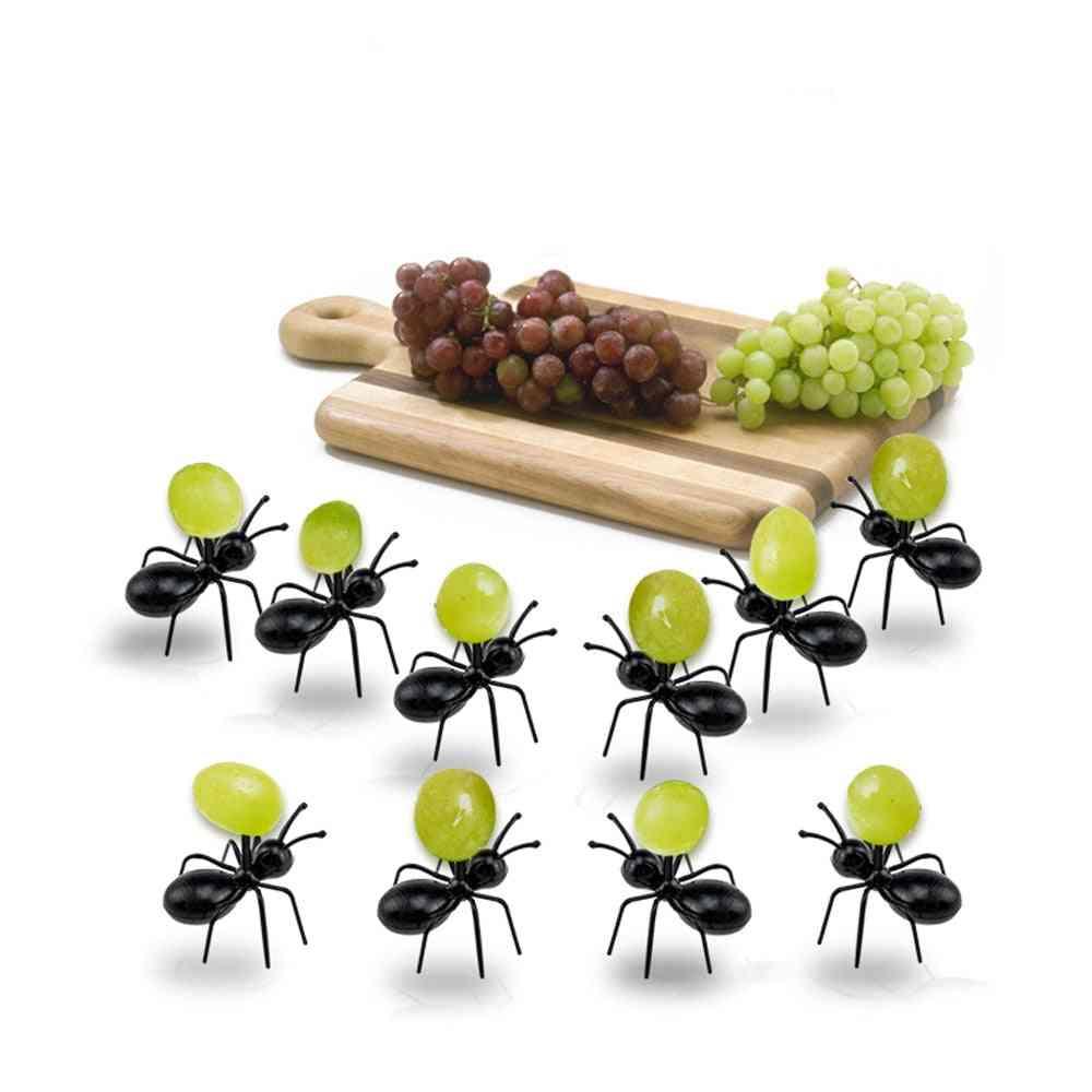 Fruit Snack Toothpick Cartoon Black Cat Shape Food Pick Tool