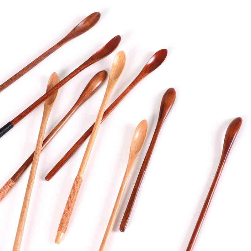 Natural Wooden Long Thin Handle Stirring Rod Mixing Spoons