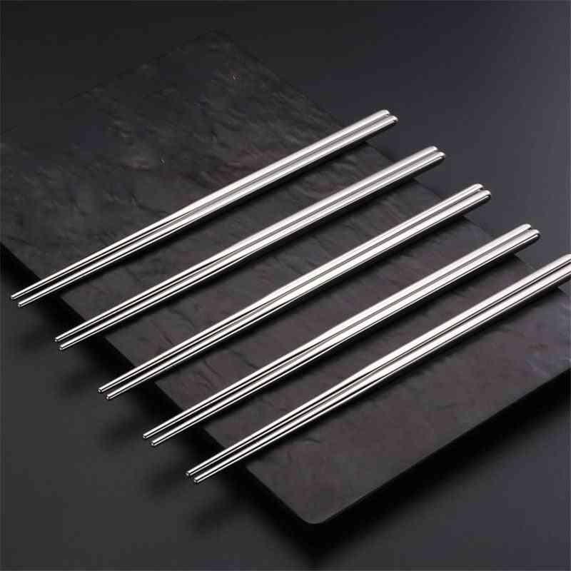 Stainless Steel Chinese Metal Non-slip Steel Chopsticks Set