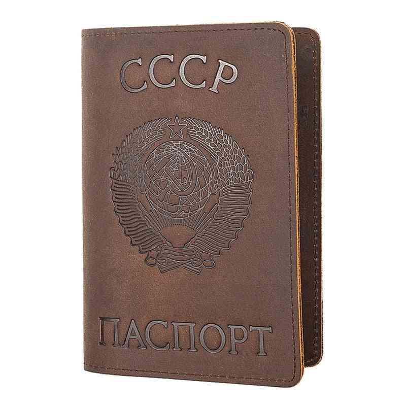 Genuine Leather Passport Cover Retro Business Card Holder