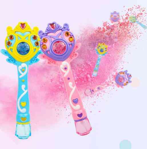 Kids Magic Wand, Bubble Gun Blower Toy, Electric Automatic Soap Machine, Light Music Outdoor For Girl