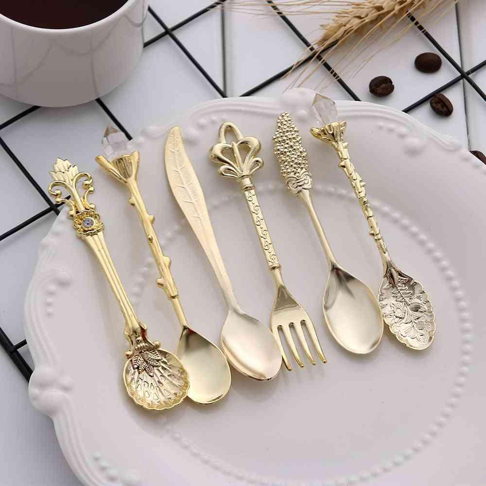 Vintage Spoons Fork Mini Royal Style Carved Teaspoon Set