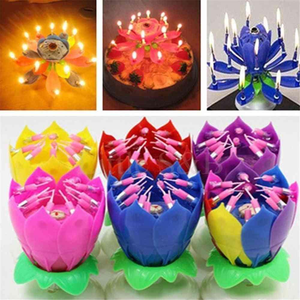 Happy Birthday Cake Light Lotus Flower Music Candles
