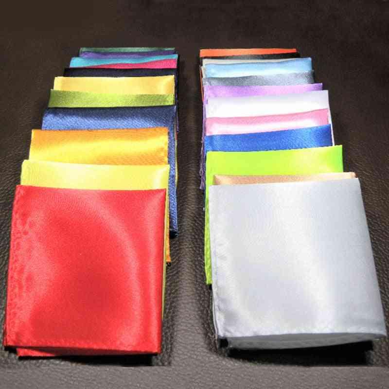 Handkerchief Solid Color Hankies Silk Pocket Square Chest Towel